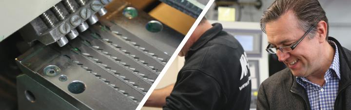 Zweigeteiltes Bild, links: Mechanik bestehend aus 5 nebeneinander liegenden Sägeblättern, rechts: Rücken eines MPS - Sägen Mitarbeiters und ein zweiten Person die lächelnd nach unten blickt