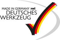Logo deutsches Werkzeug - Text mit einem schwarz rot goldenen Haken