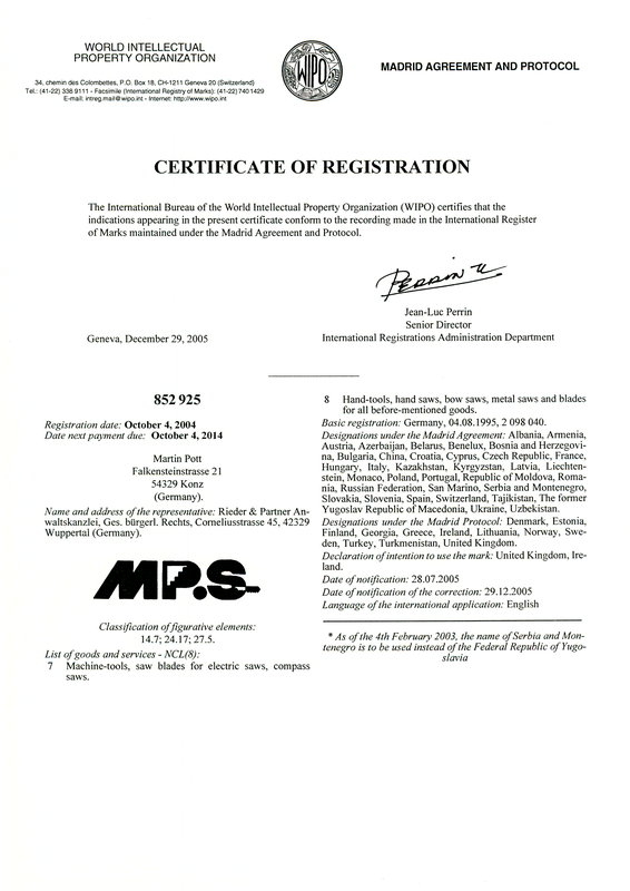 Certifivate of registration - Madrid Agreement and Protocol - 852 925 - October 4, 2004