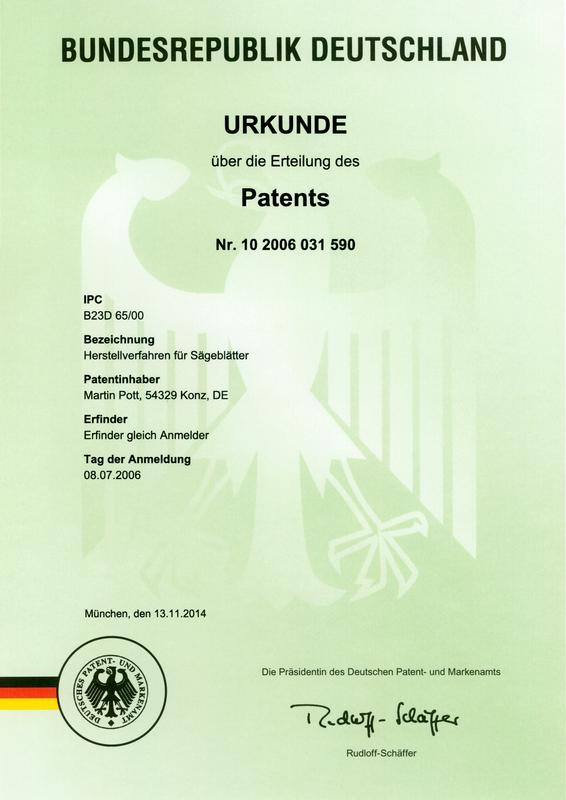Patenturkunde Nr 10 2006 031 590: Herstellverfahren für Sägeblätter