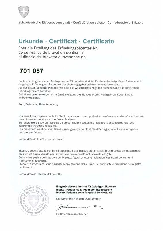 Schweizerische Eidgenossenschaft - Urkunde über das Erfindungspatent Nr. 701 057