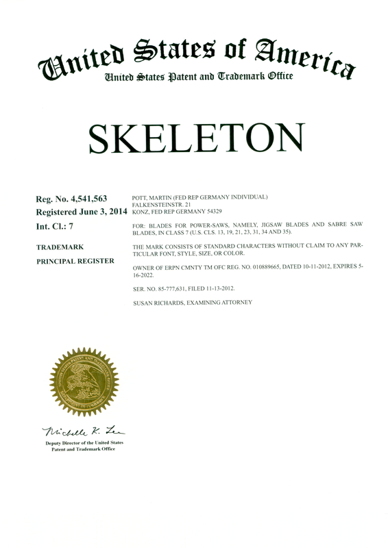 United States Patent and Trademark Office - SKELETON - Reg. No. 4,541,563 - Jigsaw Blades and Sabre Saw Blades in class 7